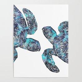 Sea Turtle Blue Watercolor Art Poster