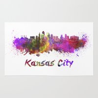 kansas city Area & Throw Rugs featuring Kansas City skyline in watercolor by Paulrommer