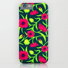 Floral pattern with red blooms iPhone Case
