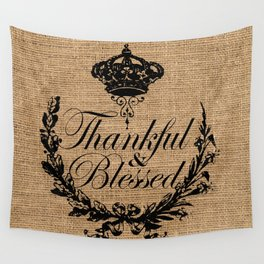 french country jubilee crown thanksgiving fall wreath beige burlap thankful and blessed Wall Tapestry