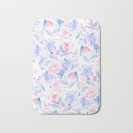 Scattered Lovers Blue on White Bath Mat