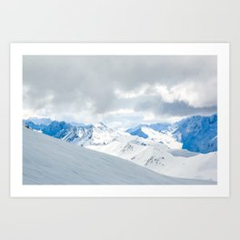 Switzerland snow mountain peaks with a winter landscape Art Print