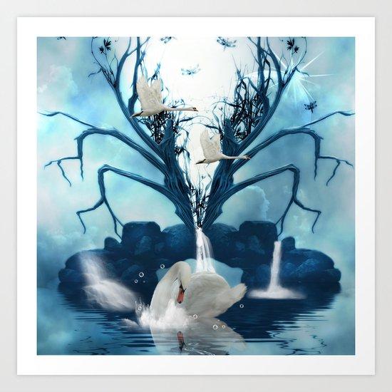 Beautiful white swan Art Print