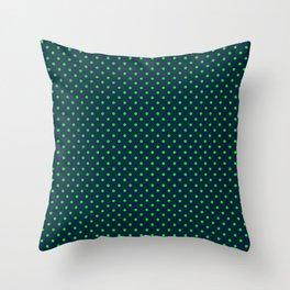 Mini Navy and Neon Lime Green Polka Dots Throw Pillow