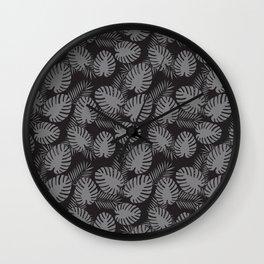 Tropical Print Grey & Black Wall Clock