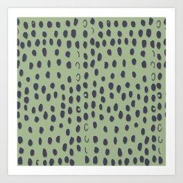 Sea Green dunkel Gepard Flecken Art Print