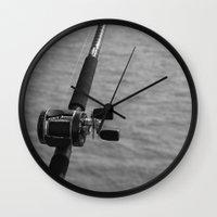 fishing Wall Clocks featuring Fishing by Raymond Earley