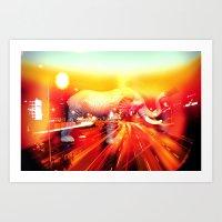 Elephant on the highway. Art Print