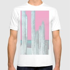 Cactus Pink Mens Fitted Tee White MEDIUM