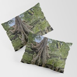 Ruins of Angkor Wat Temple Being Overgrown by Ancient Roots of Banyan Tree Pillow Sham