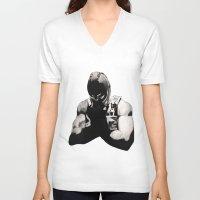 bane V-neck T-shirts featuring Bane by a vitruvian man