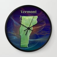 vermont Wall Clocks featuring Vermont Map by Roger Wedegis