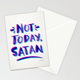 Not Today, Satan – Cyan & Magenta Palette Stationery Cards