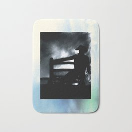 Cowboy In The Misty Night Bath Mat