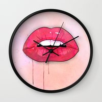 lips Wall Clocks featuring Lips by Matthew Bartlett