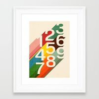 budi Framed Art Prints featuring Retro Numbers by Picomodi