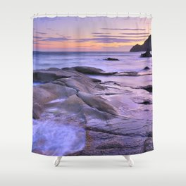 Purple sea sunset Shower Curtain