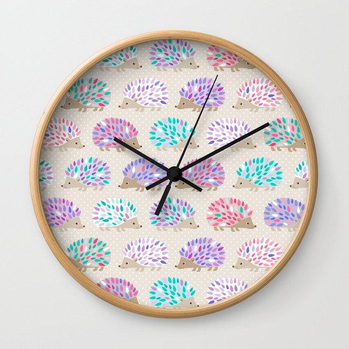Hedgehog polkadot Wall Clock