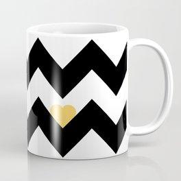 Heart & Chevron - Black/Yellow Coffee Mug