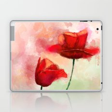 Red Poppy watercolor painting Laptop & iPad Skin