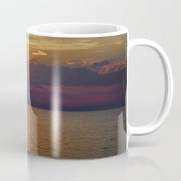 Sun through the clouds. Purple sunset. Coffee Mug