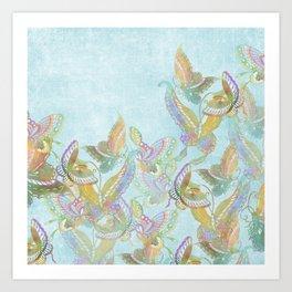 Butterflies on Turquoise Watercolor:  Rainbow butterflies, Chinese design Art Print