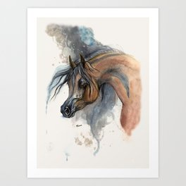 Arabian horse portrait watercolor art Art Print