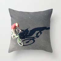 cycling Throw Pillows featuring Cycling by Avigur