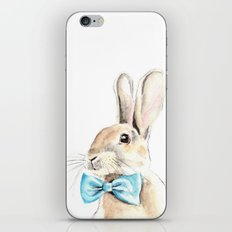 Bunny with a Blue Bow Tie. Watercolor Illustration. iPhone & iPod Skin
