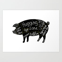 Cuts of Pig Art Print