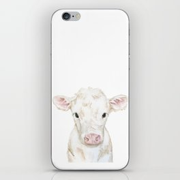 Baby White Cow Calf Watercolor Farm Animal iPhone Skin