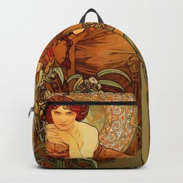 "Alphonse Mucha ""The Precious Stones Series: Emerald"" Backpack"