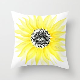 The Sunflower Eye Throw Pillow