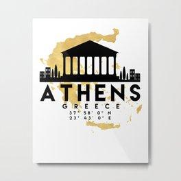 ATHENS GREECE SILHOUETTE SKYLINE MAP ART Metal Print
