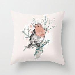 Robin on Birch Throw Pillow