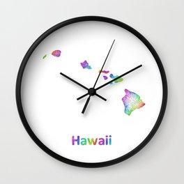 Rainbow Hawaii map Wall Clock