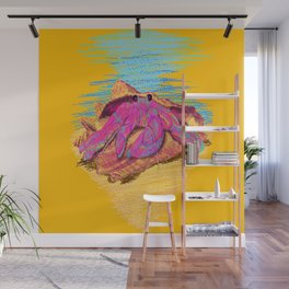 Colorful hermit crab in conch shell - Orange Wall Mural