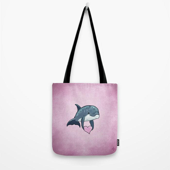 Love Ya! ~ Baby Dolphin by Amber Marine ~ Pink ~ (Copyright 2014) Tote Bag