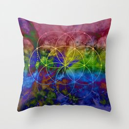 Psychedelic Seed of Life Throw Pillow