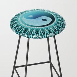 Tranquility Yin Yang Blue Aqua Mandala Bar Stool