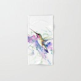 Hummingbird and Soft Purple Flowers Hand & Bath Towel