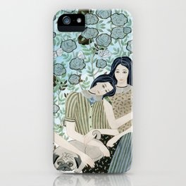 Girls With Pugs Among Roses iPhone Case