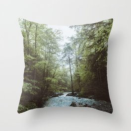 Peaceful Forest, Green Trees and Creek, Relaxing Water Sounds Throw Pillow