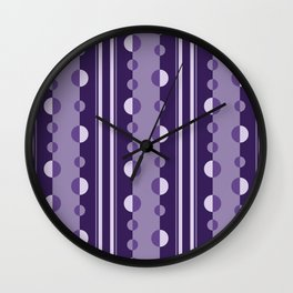 Modern Circles and Stripes in Violet Wall Clock