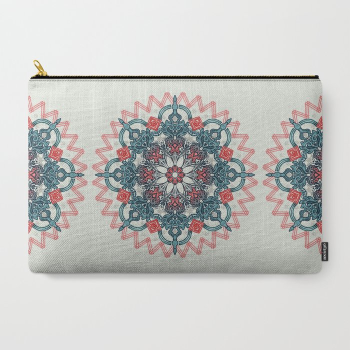 Coral & Teal Tangle Medallion Carry-All Pouch