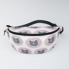 Painting of Gray Cat Head on Floral Pattern Digital Art Fanny Pack