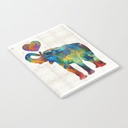 Colorful Elephant Art - Elovephant - By Sharon Cummings Notebook