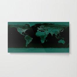 World Map : Green Metal Print