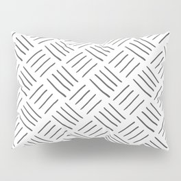 Gray and White Cross Hatch Design Pattern Pillow Sham