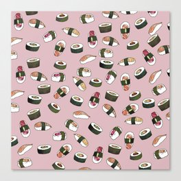 Sushi on Pink Canvas Print